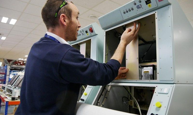 Man assembling machine